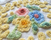 Yellow Floral Vintage Chenille Bedspread FABRIC Piece Pink Green Blue Medallions