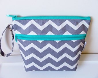 Deluxe Diaper Clutch Changing Pad Bag Set Chevron Grey Aquamarine/Baby Shower Gift/Carry All/Monogram