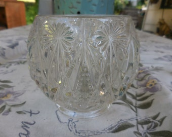 Vintage Avon Crystal Cut/Pressed Glass Votive Candleholder Dish/Bowl Heavy 1970s to 1980s Round Tea Light
