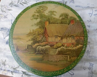 Vintage 1930s to 1950s Green Storage/Sewing Tin Round With Cottage on Top Mrs. Sothern's Old Fashioned Sweets Metal