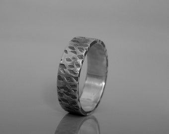 Mens wedding band, Sterling silver textured ring, Mens ring made to order, Men's Jewelry
