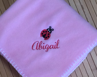 Embroidered Personalized Baby Girl Ladybug Blanket