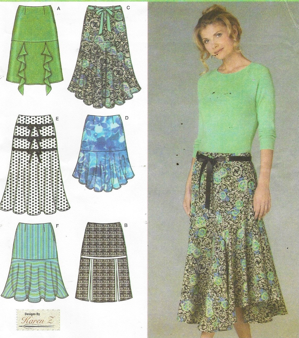 z simplicity sewing pattern 4753 womens skirt with