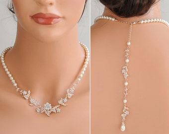 Rose Gold Back Drop Wedding Necklace, Backdrop Bridal Necklace, Crystal Flower Leaf Necklace, Swarovski Pearl Bridal Necklace, TIMOTHEA