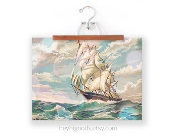 Vintage Paint by Number, Ship at Sea, Ocean, Sailboat, Print Your Own, Instant Art, Digital Download, Print up to 16x20