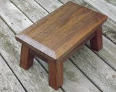 "Reclaimed wood/ stool/ Classic/ american/ solid black walnut /wood/ step stool 8"" - 10"" H"