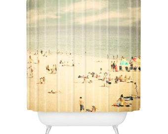 Shower Curtain. Bathroom Art.  Beach Home Decor. Beach Bathroom. Photography. Santa Cruz. California. Blue and Beige. Sky Sand Ocean