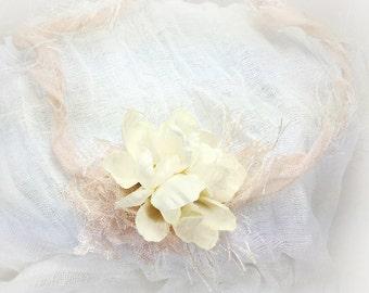 Champagne Ivory Crown Head Tie - Newborn Baby Girl Halo Headband,  Photography Prop, Flower Girl Forehead Tie Baby Shower Gift