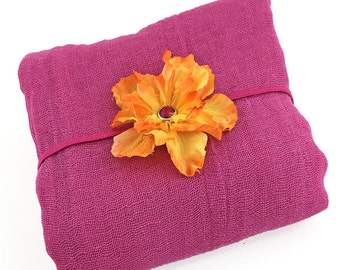 Fuchsia and Orange Photo Prop - Cotton Cheesecloth Wrap with Silk Flower Headband - Newborn Posing Photo Prop, Baby Shower Gift