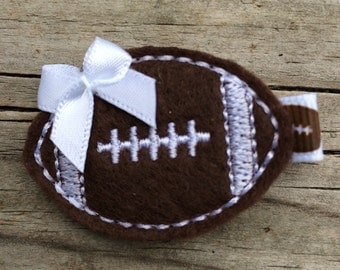 FOOTBALL Brown White  Felt Hair Clip Babies Toddlers Girls