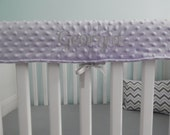 Crib Teething Rail Padded Cover - Minky with embroidery - Many Color Options