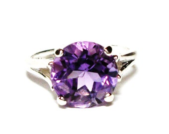 "Amethyst, AAA amethyst, amethyst ring, solitaire birth ring, purple, engagement ring, s 6 1/2  ""Jasmine"""