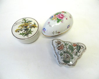 Jewelry Box Porcelain Floral Butterfly Egg Trinket Box Villeroy & Boch Set of Three