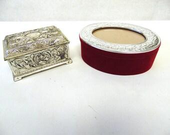 Silver Jewelry Box Trinket Set of Two