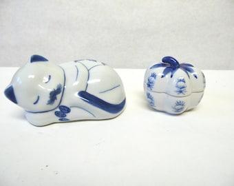 Cat Figurine Pumpkin Porcelain Trinket Box Blue White Delft Style