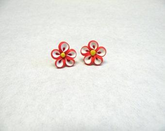 Red White Daisy Flower Earrings Post