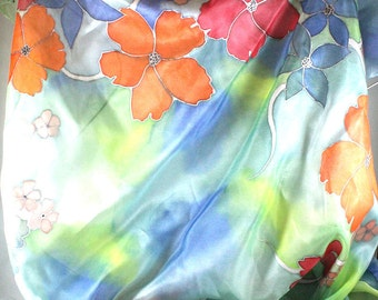 Hand painted silk scarf. Floral silk foulard. Original wearable silk art. Unique delisa creation. Hand painted in France.