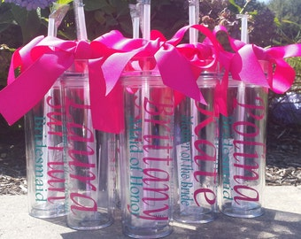 Wedding Tumblers -  Bride, Bridesmaid gifts, Glass, Tumbler wth straw, Brides Glass,,  wedding day, mother of the bride, mother of the groom