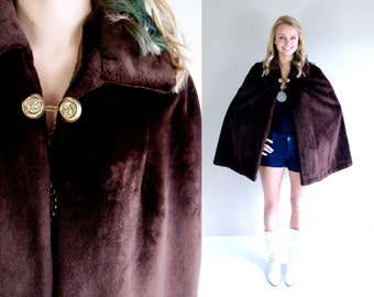 vtg 60s brown FAUX FUR avant garde CAPE os swing military riding outerwear Russian mod winter warm fuzzy