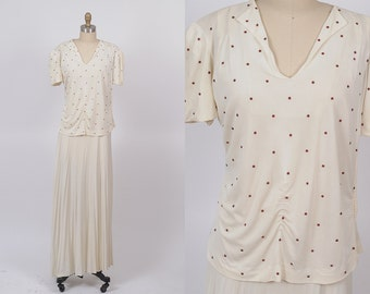 1940s dress/ 40s rhinestone rayon dress/ medium