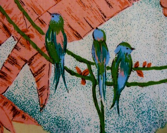 RAIN FOREST ~ Tropical Jungle Pinks, Blues and Greens  ~ Sky and Palm Trees ~ Flowers ~ Palm Jungle ~ Rain Forest Birds Parrots