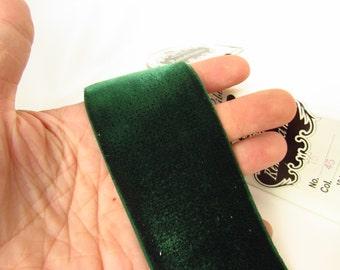 1.5 Inch Wide Emerald Green Velvet Ribbon, Vintage Velvet Green, Dark Green Ribbon, Dark Green Velvet, Millinery Ribbon Green, Nylon V1645
