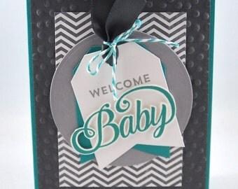 Baby Greeting Card, Baby Boy, Baby Girl, Grey, Gray, Teal, Aqua, Polka Dots, Chevron, Welcome Baby, Baby Shower, New Baby, Stamped, Handmade