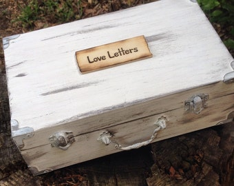 Cottage Chic Vintage Distressed Custom  Unique Personalized Gift Keepsake Love Letter Box You Pick Your Colors