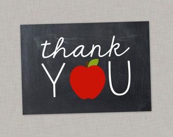 Teacher Thank You Card, Thank You Card, Apple, Chalkboard, Printable Thank You