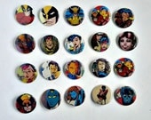 Buy 5 Get 1 FREE--Comic Pin Back Buttons Featuring Wolverine Jubilee Psylocke Mystique