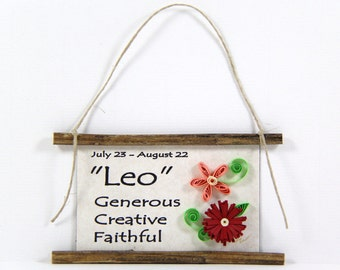 Paper Quilled Zodiac Magnet- Flattery for Leo, July 23 to August 22, Birthday Gift, Zodiac Ornament, Astrology Sign, Zodiac Art Decor