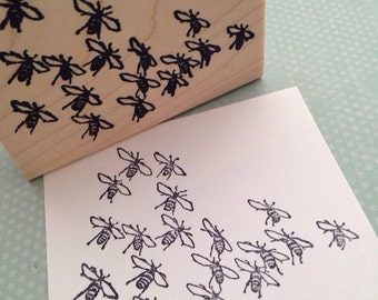 Bee Swarm Wood Mounted Rubber Stamp 5294