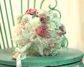 Wedding bouquet, bridal bouquet,men boutonnieres, pastel bouquet, fabric flowers custom bouquet