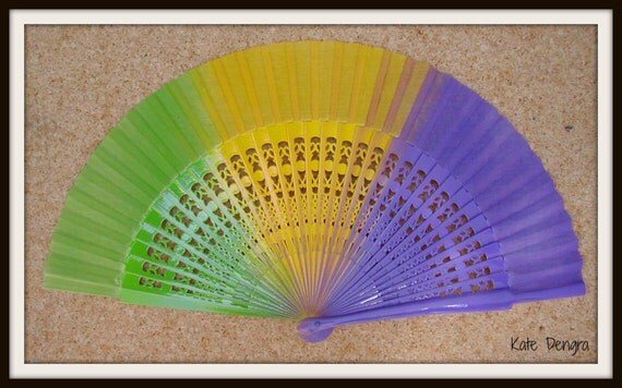 Mardi Gras Hand Fan Flamboyant Fret Flamenco Wooden Handheld Fan Hand Painted in Spain Made to Order