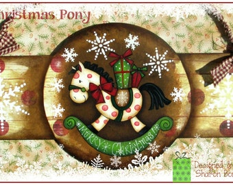 E-PATTERN - Christmas Pony! What a Sweet Pony, bringing gifts & snowflakes! Designed and Painted by Sharon Bond - FAAP