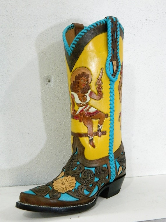 Wonderful Hand Painted Wolverine Brand Cowboy Boots From Lottisunshyne On