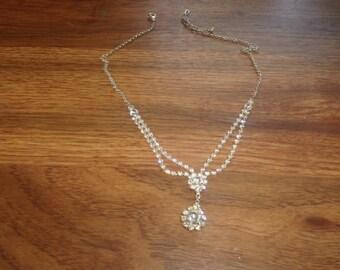 vintage necklace silvertone rhinestones choker