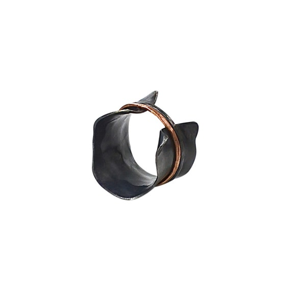 Nicki Charcoal Argentium & 14K Rose Gold Corset Style Spinner Ring