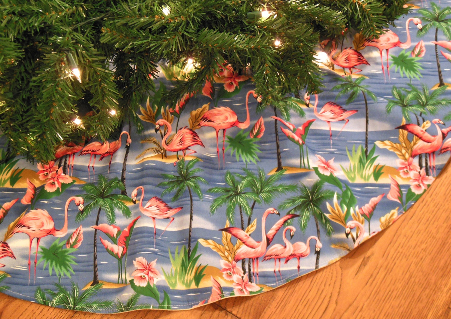 Pink Flamingo Christmas Tree Skirt Tropical Tree Skirt
