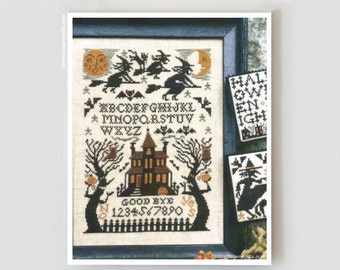 Witching Hour Book No. 200 : Prairie Schooler cross stitch patterns sampler October Halloween haunted house Autumn hand embroidery
