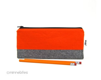 Men's Orange Pencil Case - Pouch for Guys - Office Organizer - Hunter Orange Pencil Bag - Receipt Holder - Desk Accessory - Ready to Ship