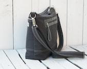 Unisex canvas tote bag, Charcoal grey zipper bag, crossbody messenger, Medium diaper bag, gift for men,  modern shoulder bag, black friday