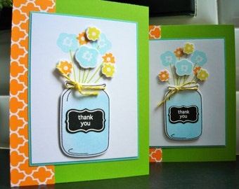 Mason Jar Thank You Card, Spring Thank You Card, Summer Card