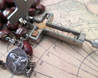 vintage seed rosary - reliquary crucifix- cross with secret compartment