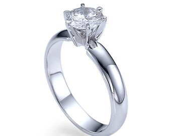 Solitaire Engagement Ring, 14K White Gold Ring, 0.50 CT Diamond Ring Size 7 Bellissimo Collection, Valentines Gifts