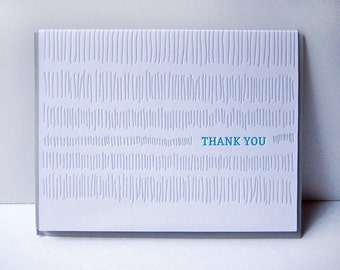 Letterpress Thank You Card - Thank You - hand drawn - Thank you notecard - grey - turquoise - pattern - gratitude - subtle