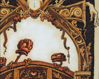 Fantasy art print on plaque original illustration detailed goblin artwork
