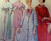 1964 Long or Short Button-Front Robe Pattern Simplicity 5726  Miss 10 Bust 31. Waistline Casing EMPIRE LINE ROBE Pattern at Whilethecatnaps