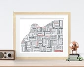 Louisville Typography Map 8x10 Print