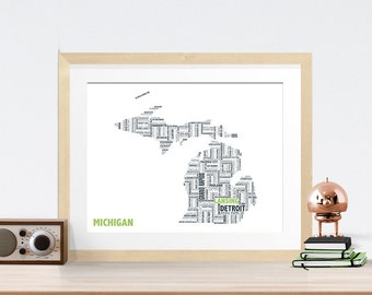 Michigan Typography Map 8x10 Print